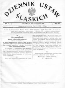 Dziennik Ustaw Śląskich, 20.08.1930, R. 9, nr 13