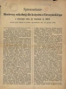 Sprawozdanie Macierzy Szkolnej dla Księstwa Cieszyńskiego, 1887/1888