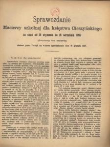 Sprawozdanie Macierzy Szkolnej dla Księstwa Cieszyńskiego, 1897