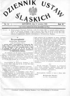 Dziennik Ustaw Śląskich, 13.09.1930, R. 9, nr 15