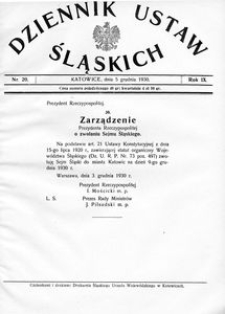 Dziennik Ustaw Śląskich, 05.12.1930, R. 9, nr 20