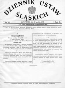 Dziennik Ustaw Śląskich, 20.12.1930, R. 9, nr 22