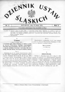 Dziennik Ustaw Śląskich, 19.02.1931, R. 10, nr 2