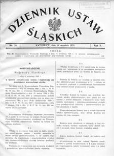 Dziennik Ustaw Śląskich, 14.09.1931, R. 10, nr 20