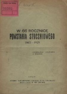 W 66 rocznicę powstania styczniowego 1863-1929