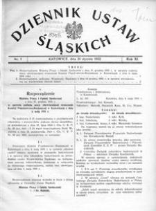 Dziennik Ustaw Śląskich, 20.01.1932, R. 11, nr 1