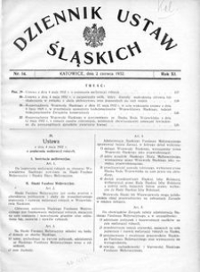 Dziennik Ustaw Śląskich, 02.06.1932, R. 11, nr 14
