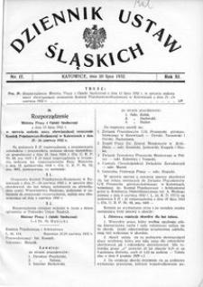 Dziennik Ustaw Śląskich, 20.07.1932, R. 11, nr 17
