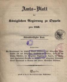 Amts-Blatt der Königlichen Regierung zu Oppeln pro 1853, 38 Bd.