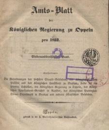Amts-Blatt der Königlichen Regierung zu Oppeln pro 1852, 37 Bd.