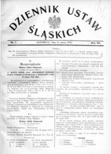 Dziennik Ustaw Śląskich, 23.03.1933, R. 12, nr 7