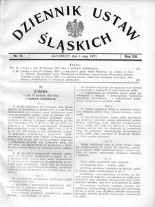 Dziennik Ustaw Śląskich, 01.05.1933, R. 12, nr 13