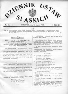 Dziennik Ustaw Śląskich, 10.08.1933, R. 12, nr 20