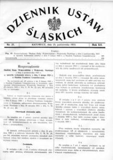 Dziennik Ustaw Śląskich, 25.10.1933, R. 12, nr 27