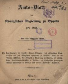 Amts-Blatt der Königlichen Regierung zu Oppeln pro 1856, 41 Bd.
