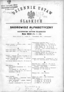 Skorowidz Alfabetyczny do Dziennika Ustaw Śląskich. Rok 1934 (Nr 1-24)