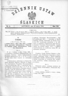Dziennik Ustaw Śląskich, 28.03.1934, R. 13, nr 6