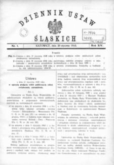 Dziennik Ustaw Śląskich, 20.01.1935, R. 14, nr 1