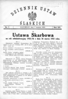 Dziennik Ustaw Śląskich, 01.04.1935, R. 14, nr 7