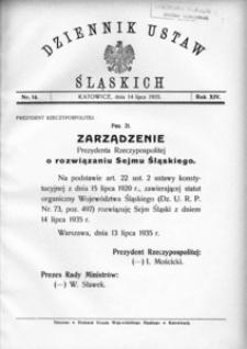Dziennik Ustaw Śląskich, 14.07.1935, R. 14, nr 14