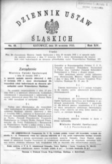 Dziennik Ustaw Śląskich, 30.09.1935, R. 14, nr 19