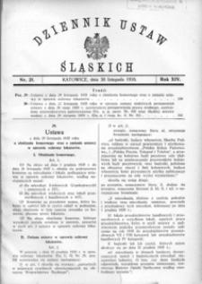 Dziennik Ustaw Śląskich, 30.11.1935, R. 14, nr 21