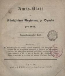 Amts-Blatt der Königlichen Regierung zu Oppeln pro 1844, 29 Bd.