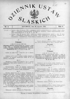 Dziennik Ustaw Śląskich, 30.01.1926, R. 5, nr 2