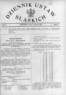 Dziennik Ustaw Śląskich, 18.03.1926, R. 5, nr 6