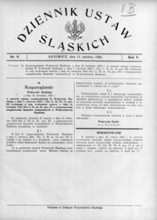 Dziennik Ustaw Śląskich, 17.04.1926, R. 5, nr 9