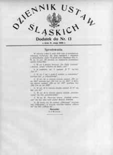 Dziennik Ustaw Śląskich, 31.05.1926, R. 5, nr 13, Dodatek: Sprostowania