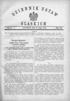 Dziennik Ustaw Śląskich, 25.02.1936, R. 15, nr 3