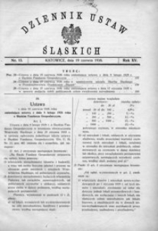 Dziennik Ustaw Śląskich, 19.06.1936, R. 15, nr 13