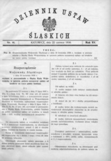 Dziennik Ustaw Śląskich, 22.06.1936, R. 15, nr 14