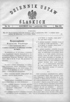 Dziennik Ustaw Śląskich, 07.10.1936, R. 15, nr 21
