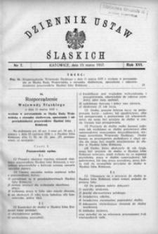 Dziennik Ustaw Śląskich, 15.03.1937, R. 16, nr 7