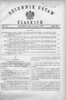 Dziennik Ustaw Śląskich, 15.06.1937, R. 16, nr 13