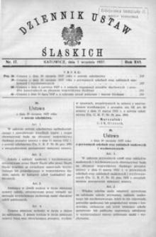 Dziennik Ustaw Śląskich, 01.09.1937, R. 16, nr 17
