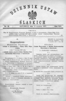 Dziennik Ustaw Śląskich, 15.09.1937, R. 16, nr 18