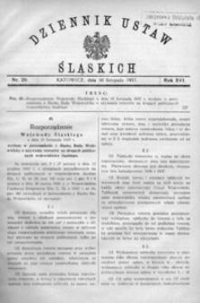 Dziennik Ustaw Śląskich, 30.11.1937, R. 16, nr 20