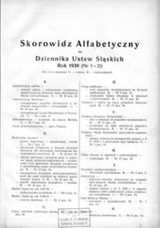 Skorowidz Alfabetyczny do Dziennika Ustaw Śląskich. Rok 1938 (Nr 1-21)