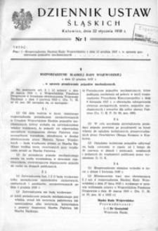 Dziennik Ustaw Śląskich, 22.01.1938, [R. 17], nr 1