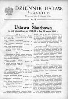 Dziennik Ustaw Śląskich, 01.04.1938, [R. 17], nr 8