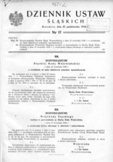 Dziennik Ustaw Śląskich, 25.10.1938, [R. 17], nr 17