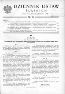 Dziennik Ustaw Śląskich, 31.10.1938, [R. 17], nr 18
