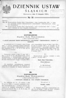 Dziennik Ustaw Śląskich, 15.11.1938, [R. 17], nr 19