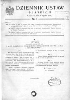 Dziennik Ustaw Śląskich, 29.01.1939, [R. 18], nr 1