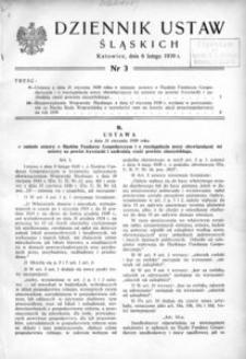 Dziennik Ustaw Śląskich, 06.02.1939, [R. 18], nr 3