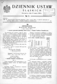 Dziennik Ustaw Śląskich, 11.03.1939, [R. 18], nr 5