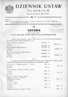 Dziennik Ustaw Śląskich, 20.03.1939, [R. 18], nr 7